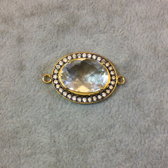 Gold Finish Faceted CZ Rimmed Clear Quartz Oval Shaped Bezel Connector Component - Measures 20mm x 25mm - Sold Individually