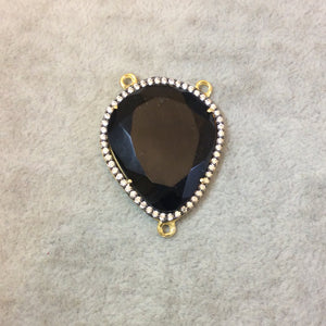 Gold Finish Faceted CZ Cubic Zirconia Rimmed Black Onyx Freeform Shaped Bezel Pendant Component - Measures 28mm x 33mm