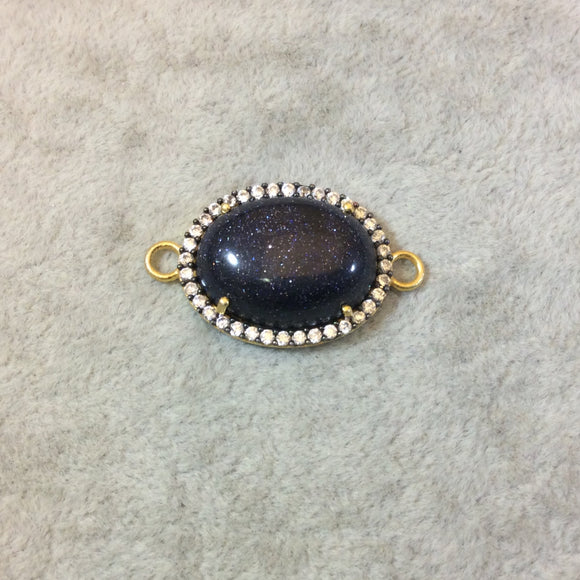 Gold Finish Faceted CZ Rimmed Smooth Blue Goldstone Oval Shaped Bezel Connector Component - Measures 19mm x 22mm - Sold Individually