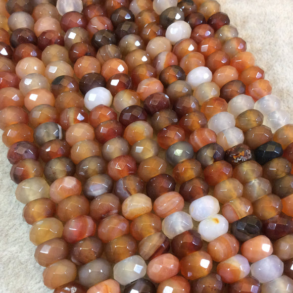 6mm x 10mm Natural Assorted Carnelian Faceted Rondelle Shaped Beads with 2.5mm Holes - 7.75