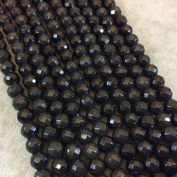 8mm Natural Jet Black Obsidian Faceted Round/Ball Shaped Beads with 2mm Holes - 7.75