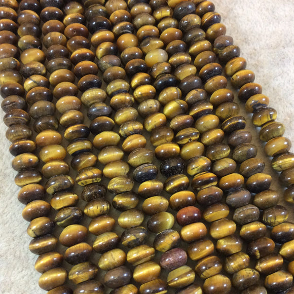 5mm x 8mm Natural Brown Tiger Eye Smooth Finish Rondelle Shaped Beads with 2.5mm Holes - 7.75