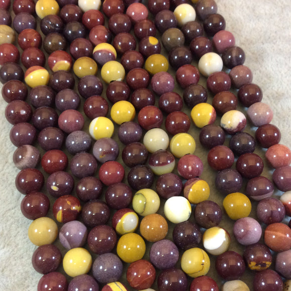 8mm Natural Mixed Mookaite Smooth Finish Round/Ball Shaped Beads with 2.5mm Holes - 7.75
