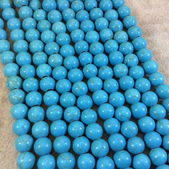 8mm Turquoise Dyed Veined Howlite Smooth Finish Round/Ball Shape Beads with 2.5mm Holes - 7.75