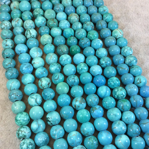8mm Green/Turquoise Dyed Howlite Smooth Finish Round/Ball Shaped Beads with 1.5mm Holes - 7.75