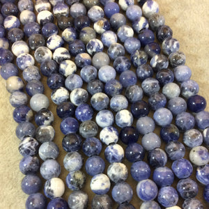 "8mm Natural Mixed Sodalite Smooth Finish Round/Ball Shaped Beads with 2.5mm Holes - 7.75"" Strand (Approx. 25 Beads) - LARGE HOLE BEADS"