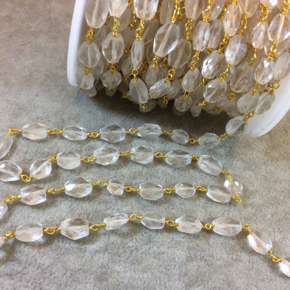 Gold Plated Copper Rosary Chain with 6mm x 8-12mm Faceted Clear Quartz Nugget Beads - Sold by the Foot, or in Bulk! - Natural Beaded Chain