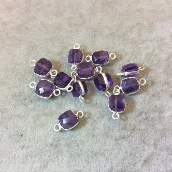 Silver Finish Faceted Amethyst Cube/Square Shaped Plated Copper Bezel Connector - Measuring 6-7mm - Natural Gemstone - Sold Individually