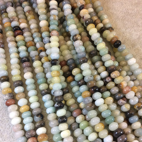 "4mm x 6mm Smooth Mixed Amazonite Rondelle Shaped Beads with 1mm Holes - 15.25"" Strand (Approx. 88 Beads) - Natural Semi-Precious Gemstone"