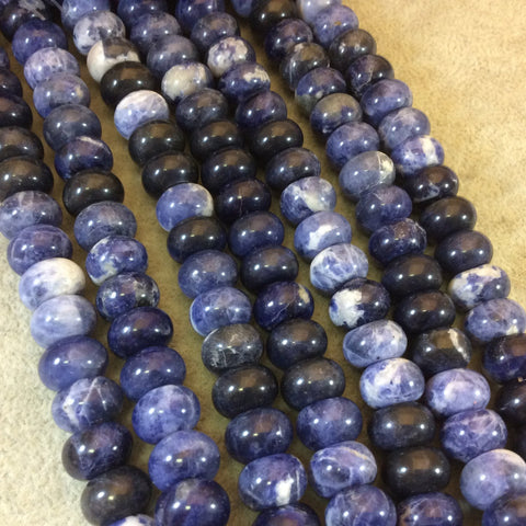 "8mm x 12mm Smooth Sodalite Rondelle Shaped Beads with 1mm Holes - 16"" Strand (Approximately 51 Beads) - Natural Semi-Precious Gemstone"