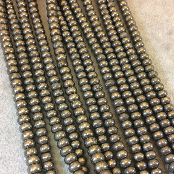 4mm x 6mm Smooth Metallic Pyrite Rondelle Shaped Beads with 1mm Holes - 16