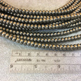 "4mm x 6mm Smooth Metallic Pyrite Rondelle Shaped Beads with 1mm Holes - 16"" Strand (Approx. 100 Beads) - Natural Semi-Precious Gemstone"