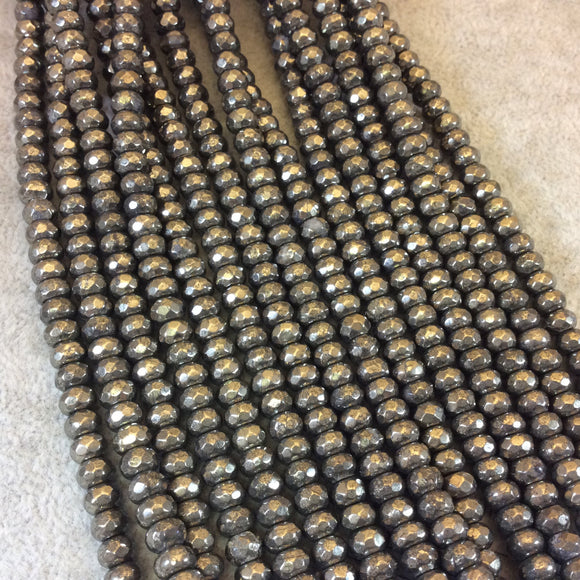 4mm x 6mm Faceted Metallic Pyrite Rondelle Shaped Beads with 1mm Holes - 16