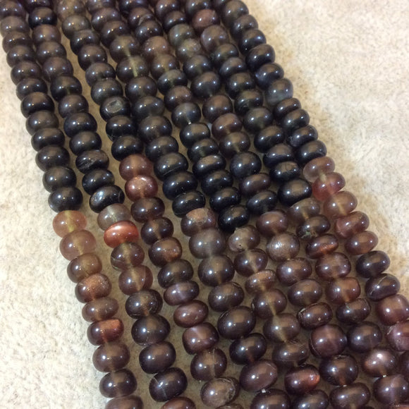 6mm Smooth Natural Brown Scapolite Rondelle Shaped Beads - 9