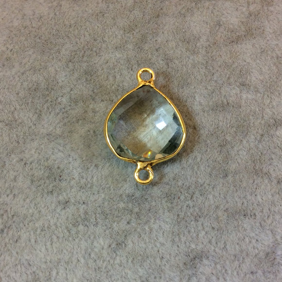 Gold Plated Faceted Pale Green Hydro (Lab Created) Quartz Heart/Teardrop Shaped Bezel Connector - Measuring 15mm x 15mm - Sold Individually