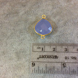 Gold Finish Faceted Semi-Transparent Pale Blue Chalcedony Heart/Teardrop Shaped Bezel Connector - Measuring 15mm x 15mm - Natural Gemstone