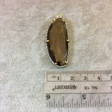 Gold Plated CZ Cubic Zirconia Rimmed Faceted Hydro (Lab Created) Smoky Quartz Freeform Oval Shaped Bezel Pendant - Measures 42mm x 19mm