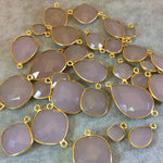 Gold Plated Faceted Nude Hydro (Lab Created) Chalcedony Diamond Shaped Bezel Connector - Measuring 18mm x 18mm - Sold Individually