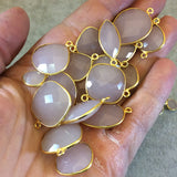 Gold Plated Faceted Nude Hydro (Lab Created) Chalcedony Heart/Teardrop Shaped Bezel Pendant - Measuring 8mm x 8mm - Sold Individually