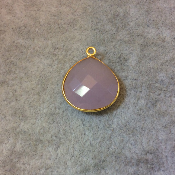 Gold Plated Faceted Nude Hydro (Lab Created) Chalcedony Heart/Teardrop Shaped Bezel Pendant - Measuring 18mm x 18mm - Sold Individually