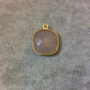 Gold Plated Faceted Nude Hydro (Lab Created) Chalcedony Square Shaped Bezel Pendant - Measuring 15mm x 15mm - Sold Individually