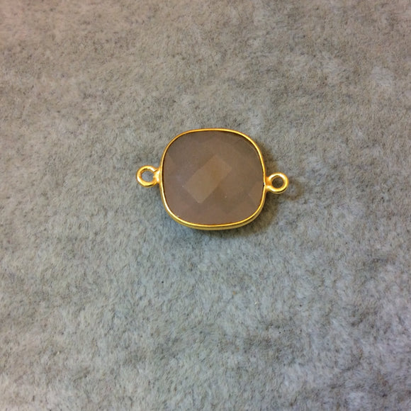 Gold Plated Faceted Nude Hydro (Lab Created) Chalcedony Square Shaped Bezel Connector - Measuring 15mm x 15mm - Sold Individually