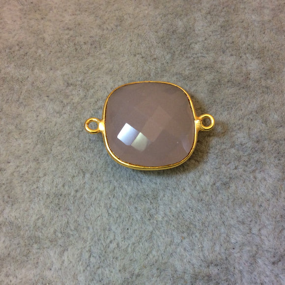 Gold Plated Faceted Nude Hydro (Lab Created) Chalcedony Square Shaped Bezel Connector - Measuring 18mm x 18mm - Sold Individually