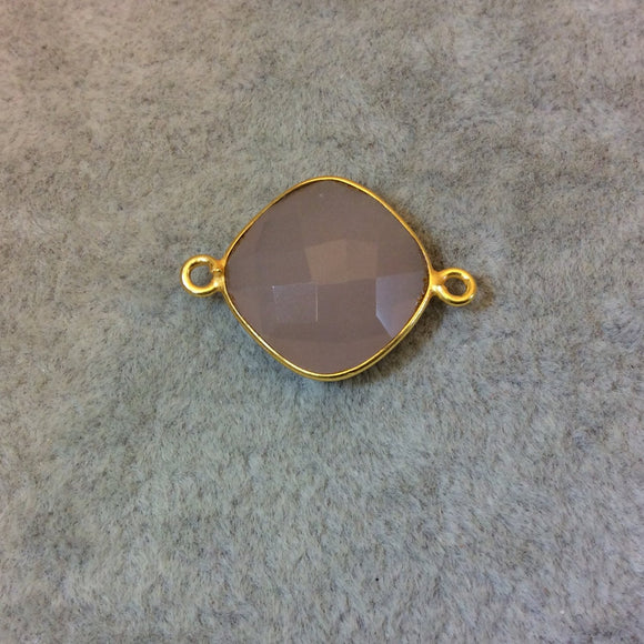 Gold Plated Faceted Nude Hydro (Lab Created) Chalcedony Diamond Shaped Bezel Connector - Measuring 15mm x 15mm - Sold Individually