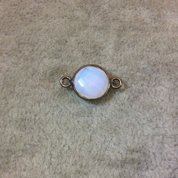 Gunmetal Plated Faceted Milky Opalite (Manmade Glass) Round/Coin Shaped Bezel Connector - Measuring 10mm x 10mm - Sold Individually