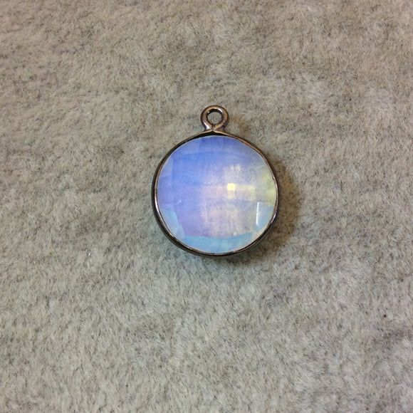 Gunmetal Plated Faceted White Opalite (Manmade Glass) Round/Coin Shaped Bezel Pendant - Measuring 15mm x 15mm - Sold Individually