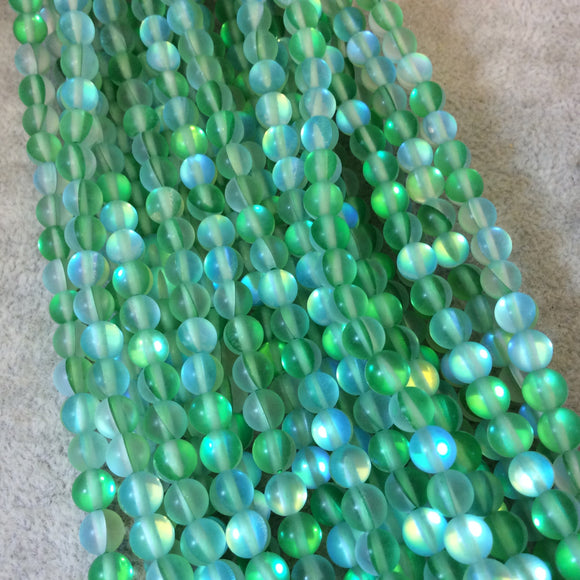 6mm Matte Frosted Bright Green Moonlight Glass Crystal Round/Ball Shaped Beads - 15.5