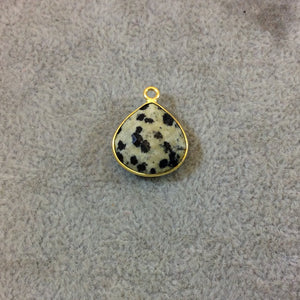 Gold Plated Natural Dalmatian Jasper Faceted Heart/Teardrop Shaped Copper Bezel Pendant - Measures 15mm x 15mm - Sold Individually, Random