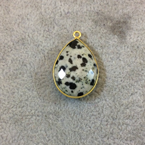 Gold Plated Natural Dalmatian Jasper Faceted Pear/Teardrop Shaped Copper Bezel Pendant - Measures 18mm x 24mm - Sold Individually, Random