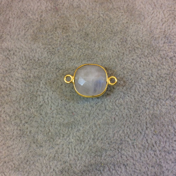 Gold Plated Natural Moonstone Faceted Square Shaped Copper Bezel Connector - Measures 12mm x 12mm - Sold Individually, Randomly Chosen