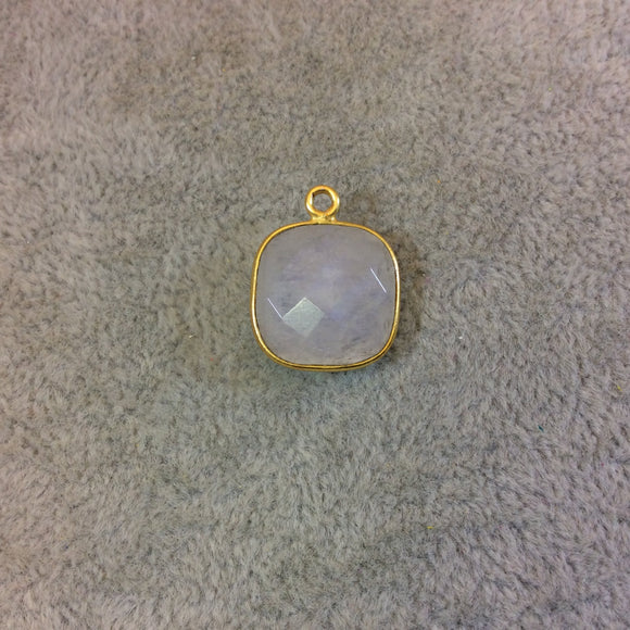 Gold Plated Natural Moonstone Faceted Square Shaped Copper Bezel Pendant - Measures 14mm x 14mm - Sold Individually, Randomly Chosen