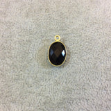 Gold Plated Faceted Hydro (Lab Created) Jet Black Onyx Oblong Oval Shaped Bezel Pendant - Measuring 10mm x 14mm - Sold Individually