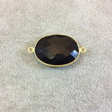 Gold Plated Faceted Hydro (Lab Created) Jet Black Onyx Oblong Oval Shaped Bezel Connector - Measuring 18mm x 25mm - Sold Individually