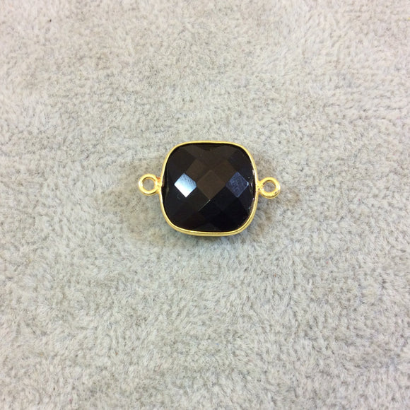 Gold Plated Faceted Hydro (Lab Created) Jet Black Onyx Square Shaped Bezel Connector - Measuring 15mm x 15mm - Sold Individually