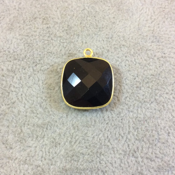 Gold Plated Faceted Hydro (Lab Created) Jet Black Onyx Square Shaped Bezel Pendant - Measuring 18mm x 18mm - Sold Individually