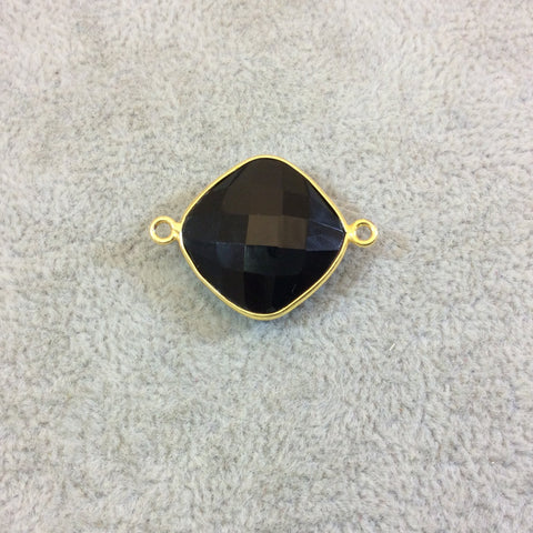 Gold Plated Faceted Hydro (Lab Created) Jet Black Onyx Diamond Shaped Bezel Connector - Measuring 18mm x 18mm - Sold Individually