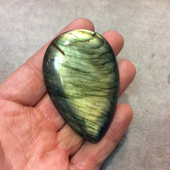 SPECIAL BATCH - AAA Pear/Teardrop Shaped Green Labradorite Domed Back Cabochon - Measuring 44mm x 67mm, 9mm Dome Height - Gemstone Cab