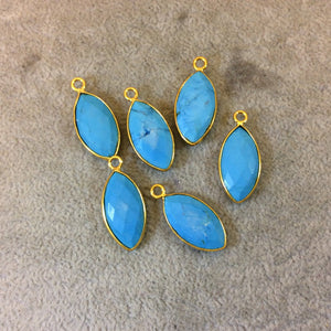 Gold Plated Faceted Stabilized Blue Howlite Marquise Shaped Bezel Pendant/Charm Component - Measuring 11mm x 22mm - Dyed Faux Turquoise