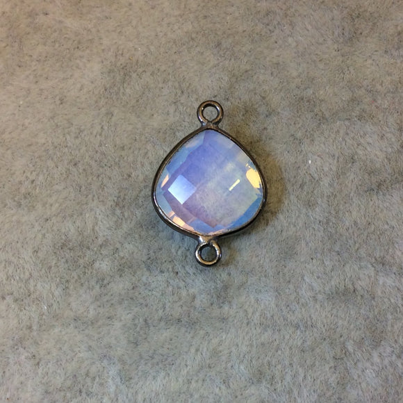 Gunmetal Plated Faceted Milky Opalite (Manmade Glass) Heart/Teardrop Shaped Bezel Connector - Measuring 15mm x 15mm - Sold Individually