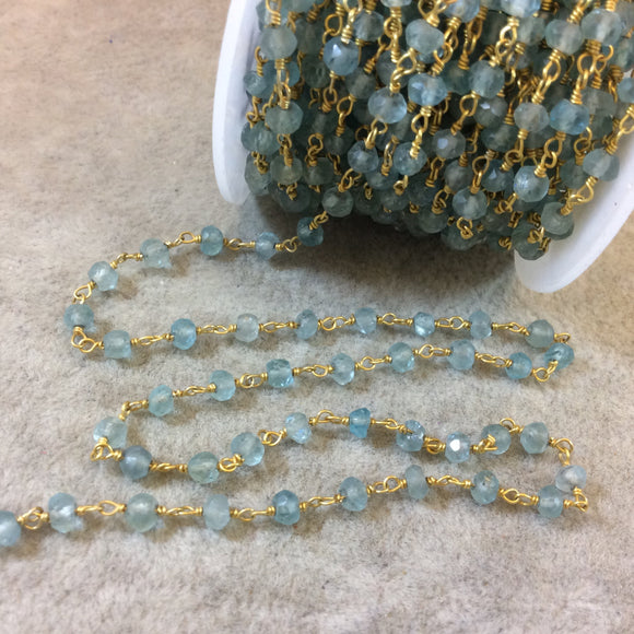 Gold Plated Copper Rosary Chain with 3-4mm Faceted Rondelle Shaped Apatite Beads (CH125-GD) - Sold by the Foot! - Natural Beaded Chain