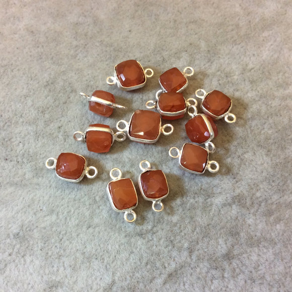 Silver Finish Faceted Carnelian Cube/Square Shaped Plated Copper Bezel Connector - Measuring 6-7mm - Natural Gemstone - Sold Individually
