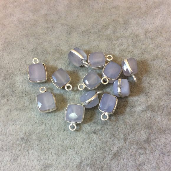 Silver Finish Faceted Chalcedony Cube/Square Shaped Plated Copper Bezel Charm/Drop - Measuring 7-8mm - Natural Gemstone - Sold Individually