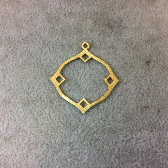 Small Sized Gold Plated Copper Open Wavy/Fancy Diamond Shaped Components - Measuring 33mm x 33mm - Sold in Packs of 10 (262-GD)