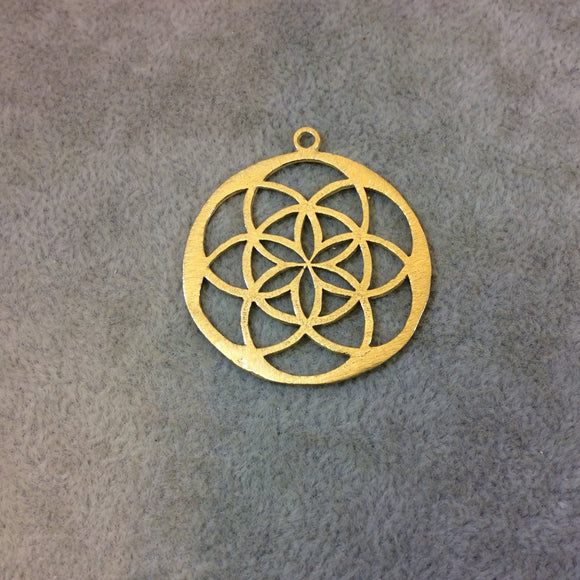 33mm x 33mm Gold Plated Copper Sacred Seed/Flower of Life Shaped Components - Sold in Packs of 10 Components (323-GD)