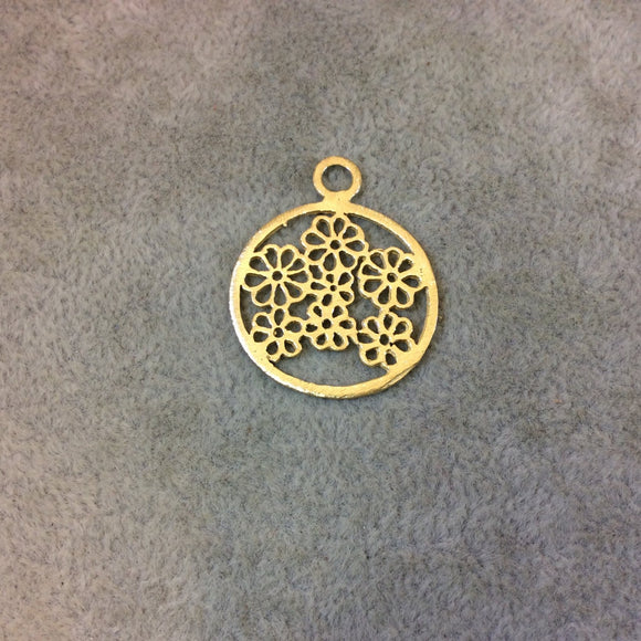 Small Sized Gold Plated Copper Flower-Filled Circle Shaped Components - Measuring 24mm x 24mm - Sold in Packs of 10 Components (328-GD)