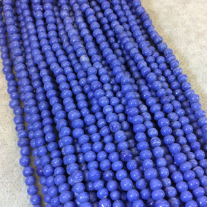 "4mm Glossy Cornflower Blue Quality Irregular Rondelle Shape Indian Ceramic Beads - Sold by 16.25"" Strand - Approximately 98 Beads"